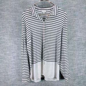 J. Jill Striped Tunic Top XL White Blue